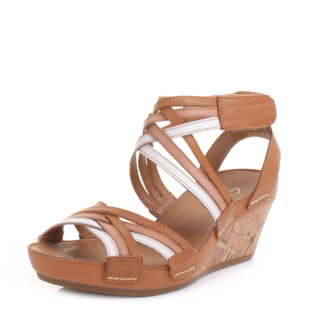 womens clarks free strappy leather wedge heel