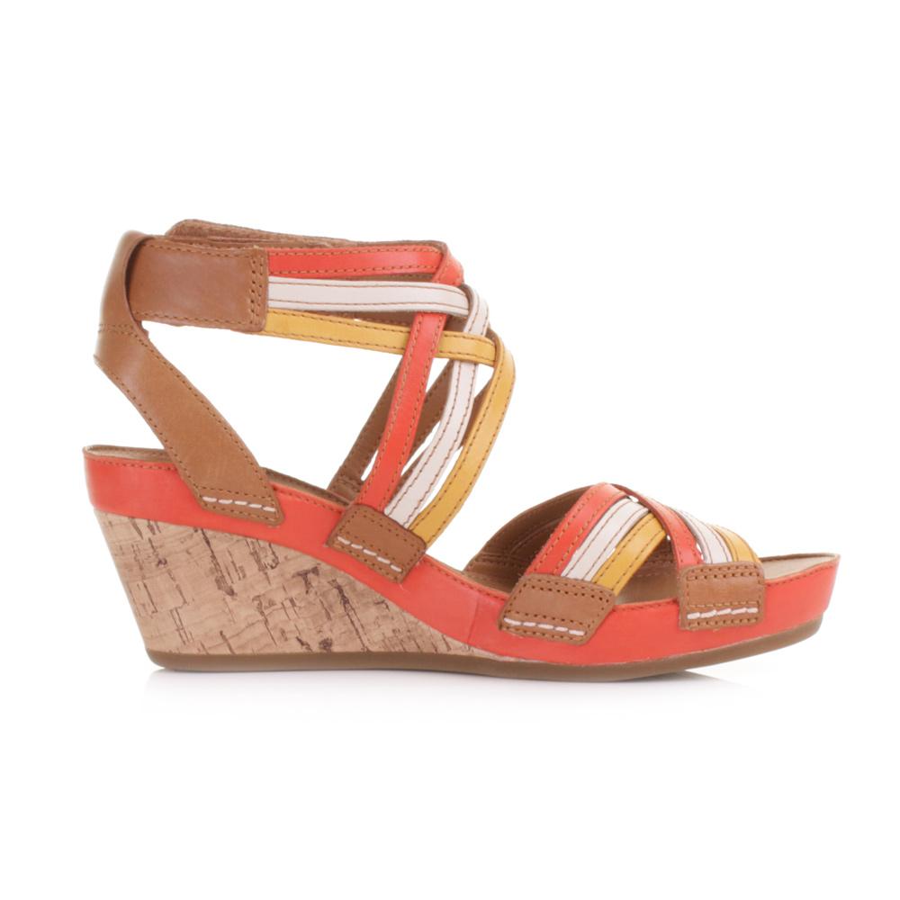 clarks free orange leather strappy wedge heel