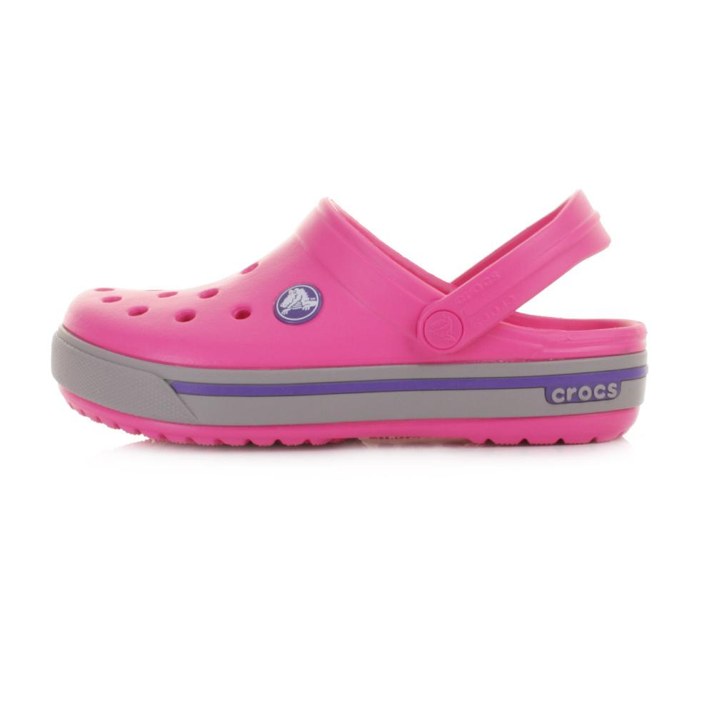 Girls Kids Crocs Crocband 2.5 Fuchsia Grey Sandals Clogs ...