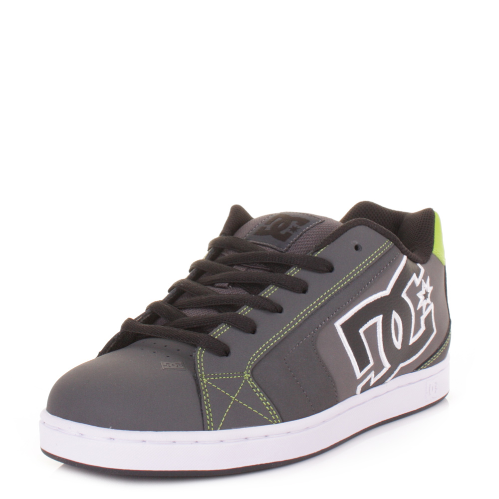 mens dc net grey lime green lace up skate trainers casual