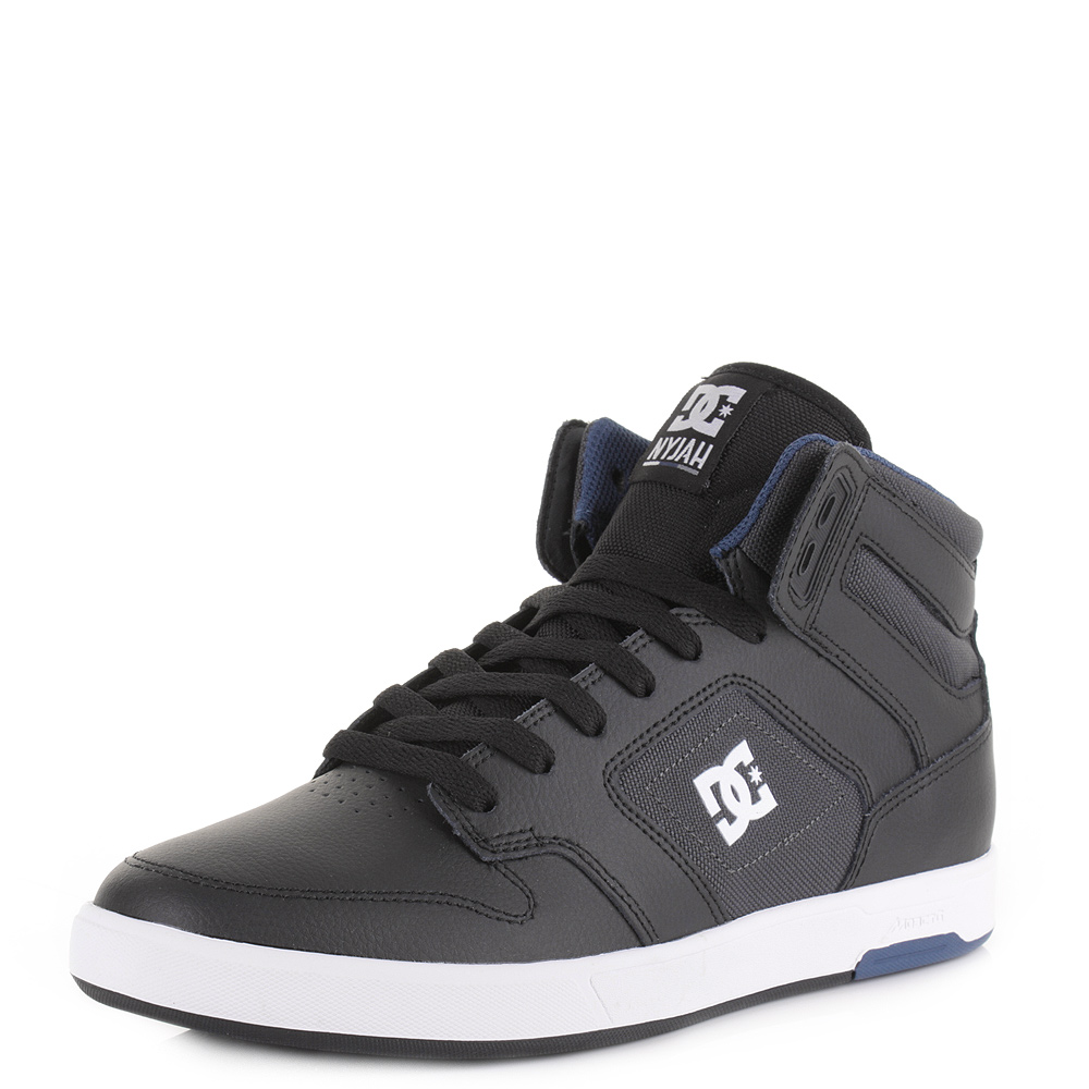 mens dc shoes nyjah high top black grey blue leather skate
