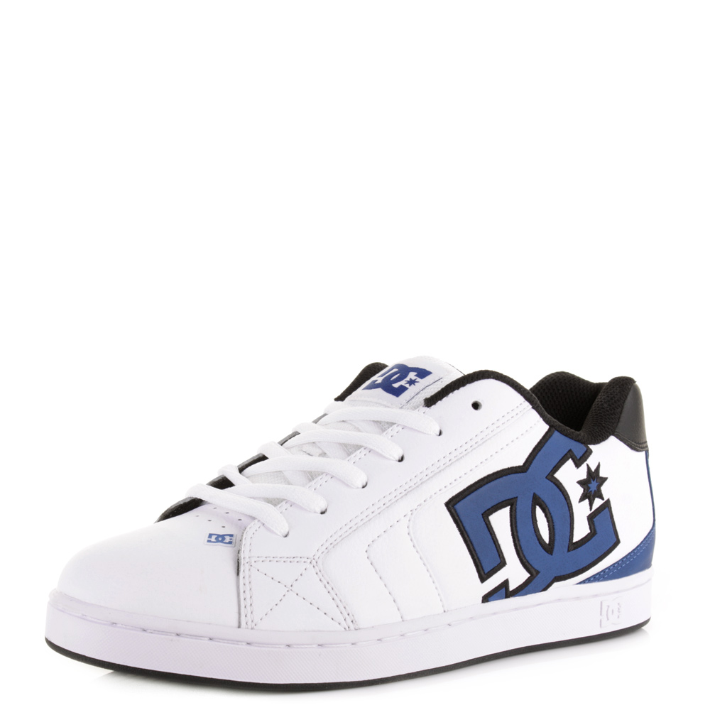 mens dc net white blue black classic style leather skate