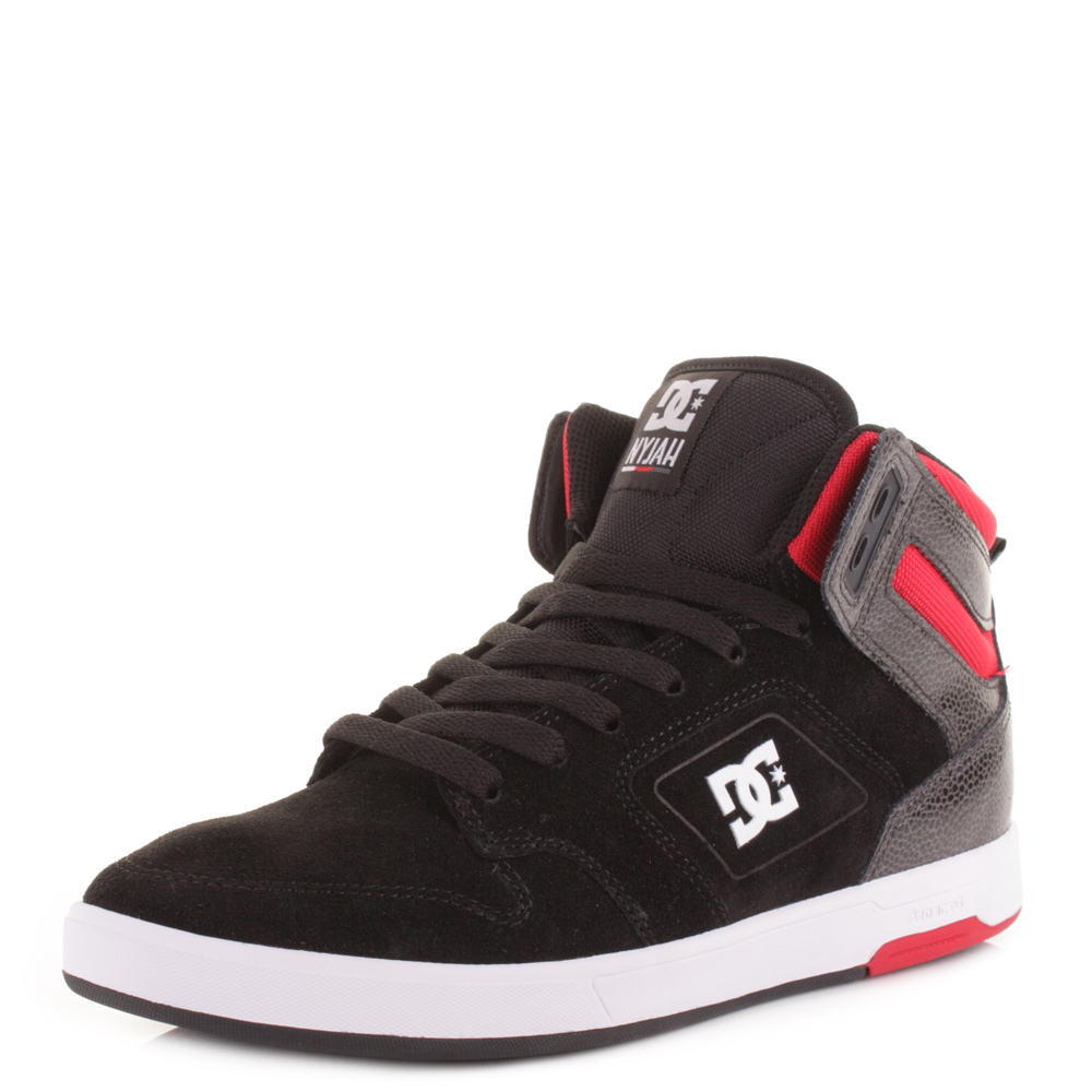 Mens Dc Nyjah High Black Red White Hi Top Skate Surf
