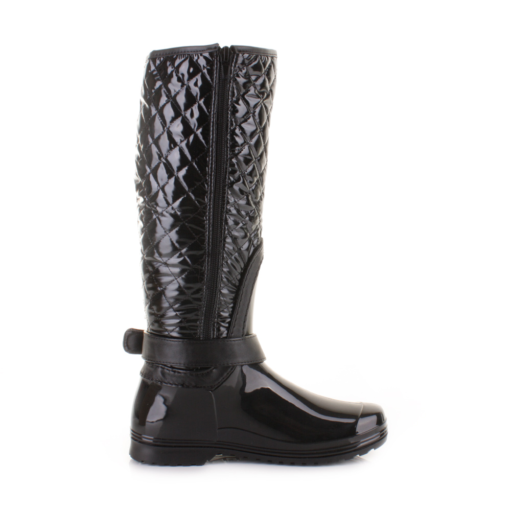womens black patent quilted wellington welly wellies boots