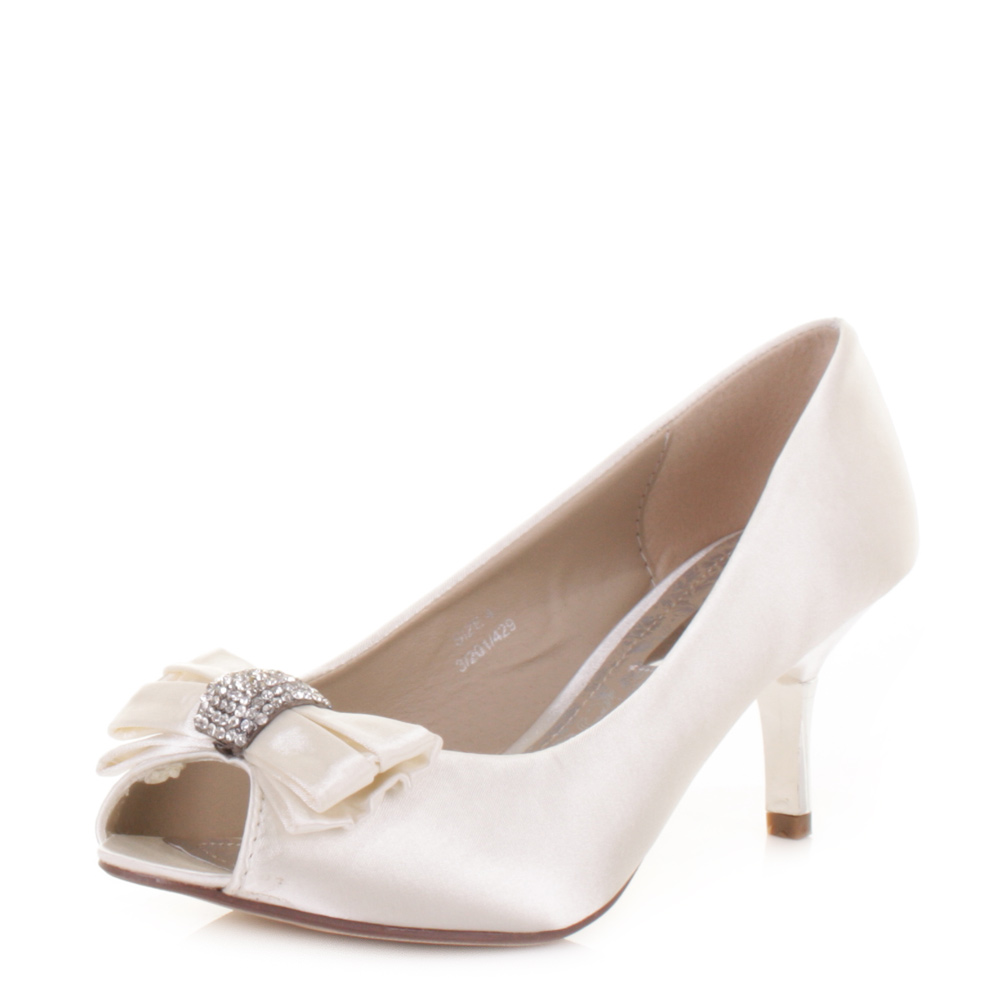 WOMENS MID HEEL DIAMANTE PEEP TOE IVORY SATIN WEDDING PROM BRIDE SHOES SIZE 3 8
