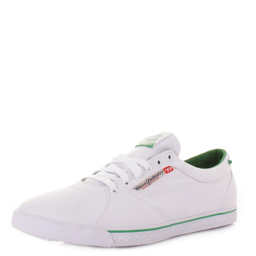 Diesel Mens Shoes Good Praiser White Canvas Casual Retro ...