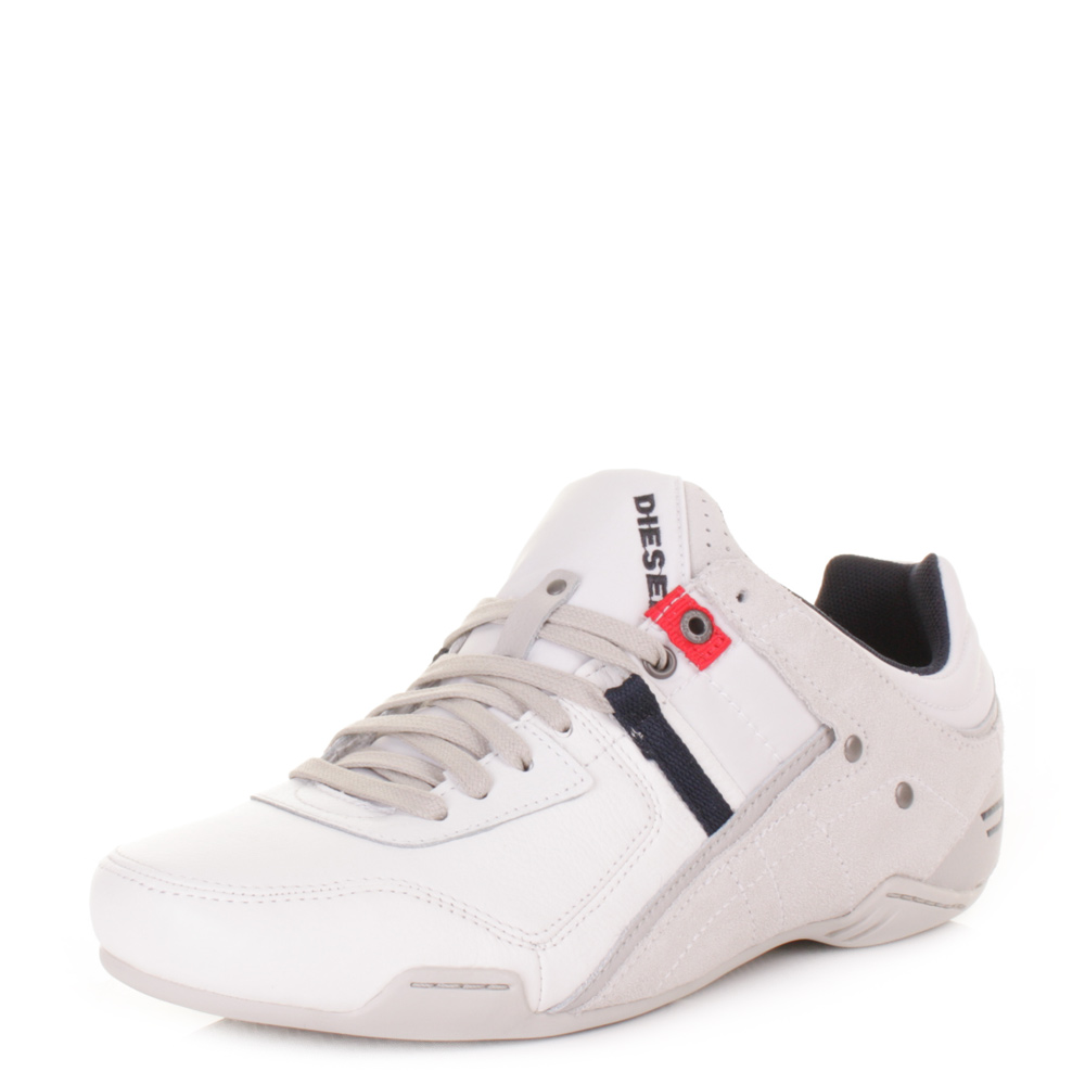 MENS DIESEL KORBIN S WHITE LEATHER TEXTILE TRAINERS CASUAL