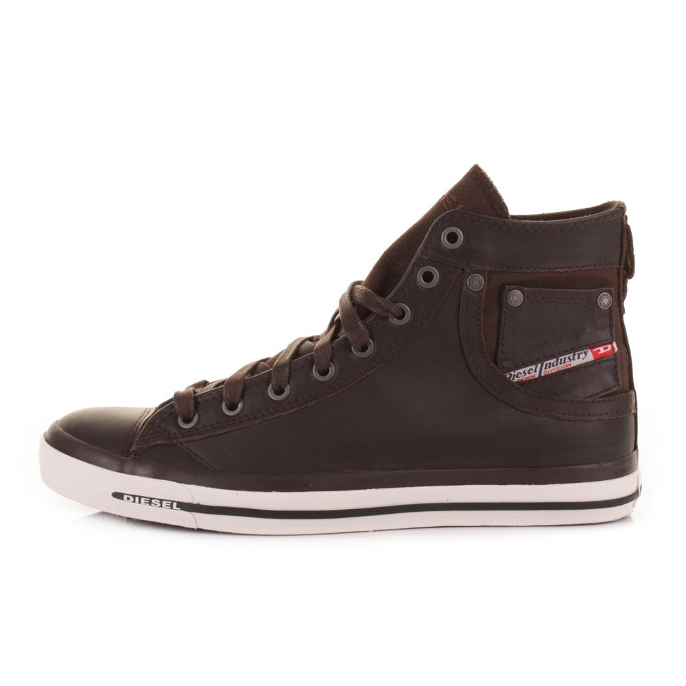 mens diesel exposure brown leather high top trainers hi