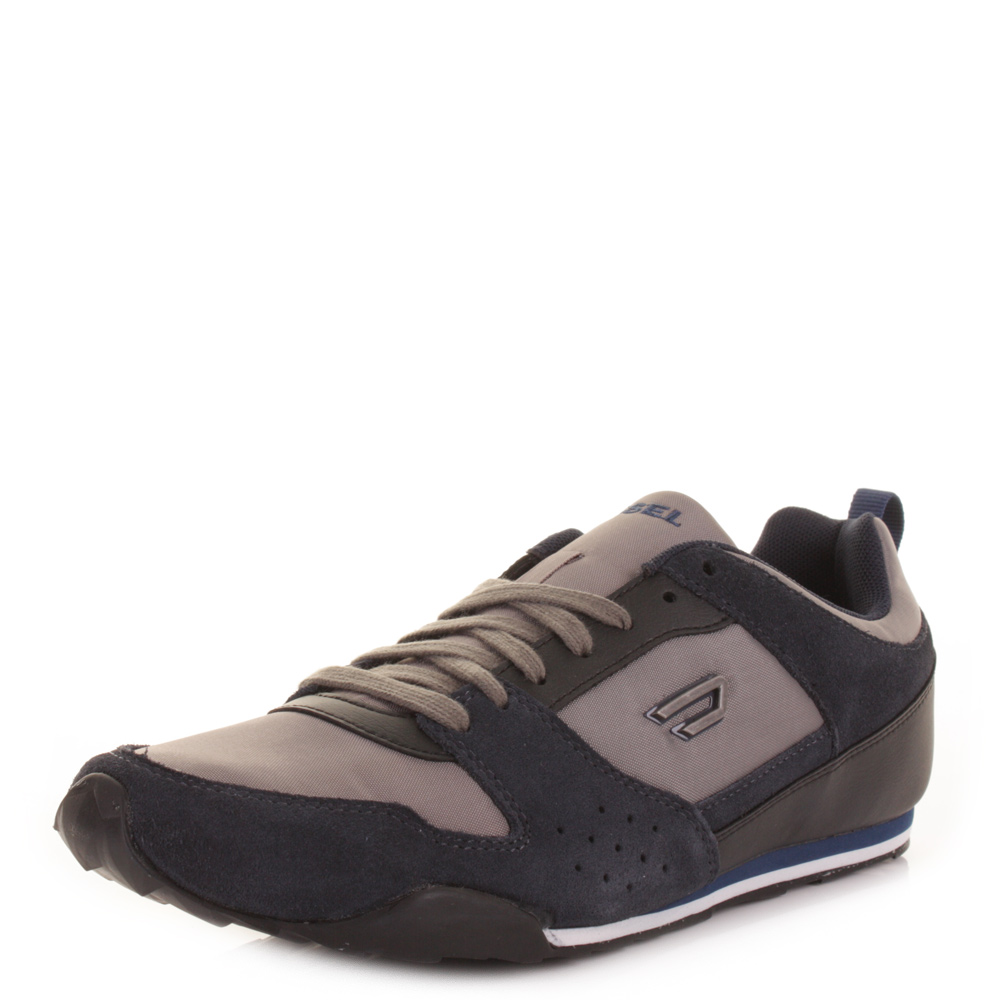MENS DIESEL LONG TERM SHORTY GREY INDIGO LACE UP TRAINERS ...