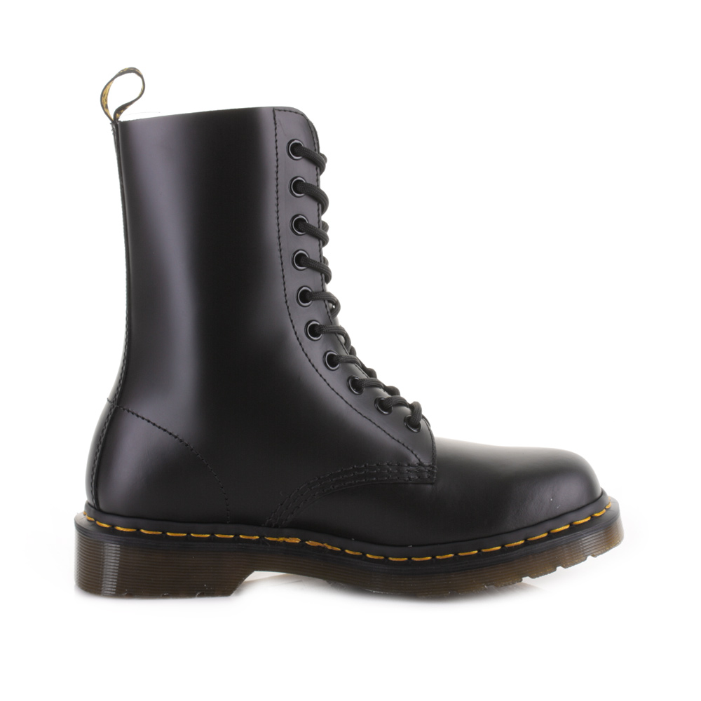 dr martens dm 1490 black smooth leather lace up casual