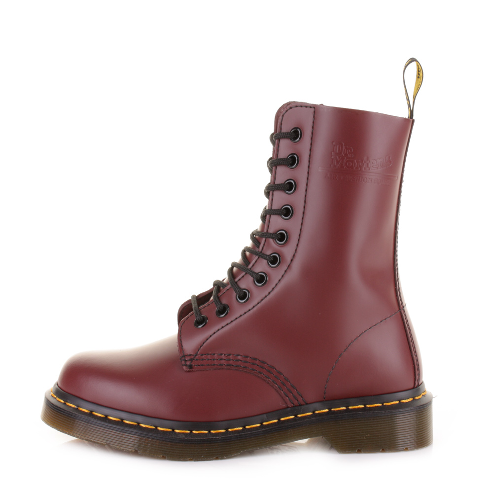 womens dr martens 1490 cherry smooth leather dm ankle
