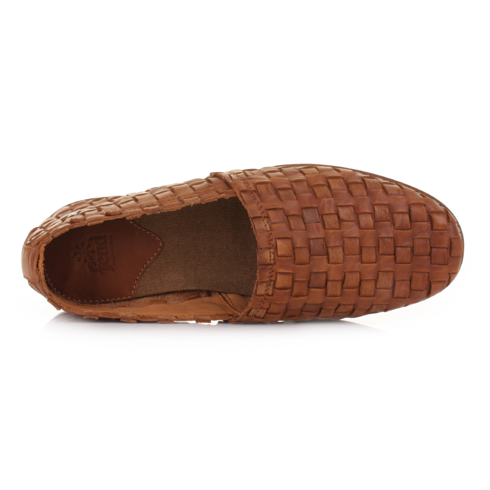 Mens Feud London Lyndon Tan Leather Woven Weave Slip On
