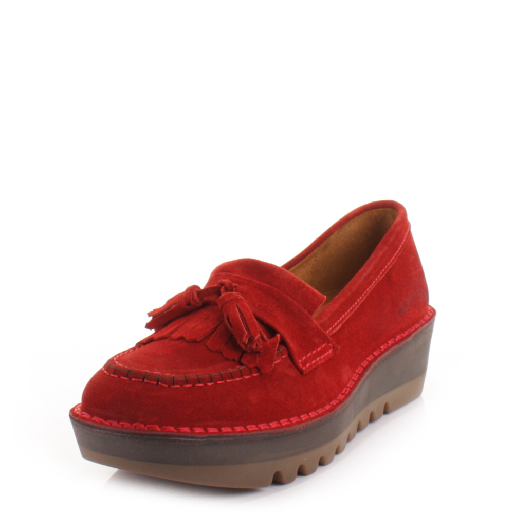 womens fly juno real suede funky loafers flat