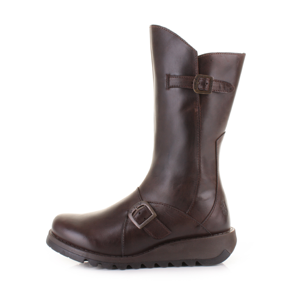 womens fly mes 2 brown leather mid calf ankle