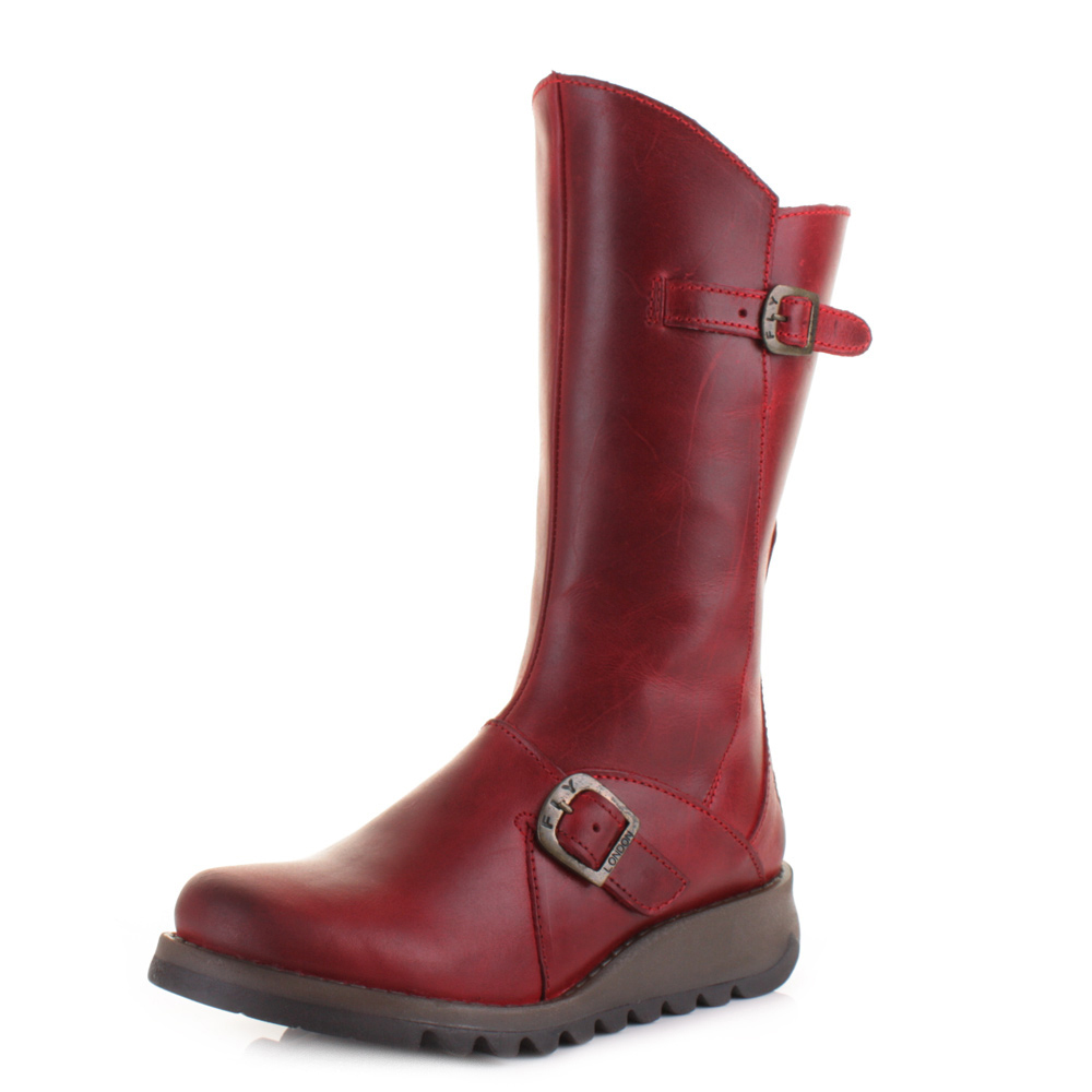 WOMENS FLY LONDON MES 2 RED LEATHER MID CALF LADIES FLAT ANKLE