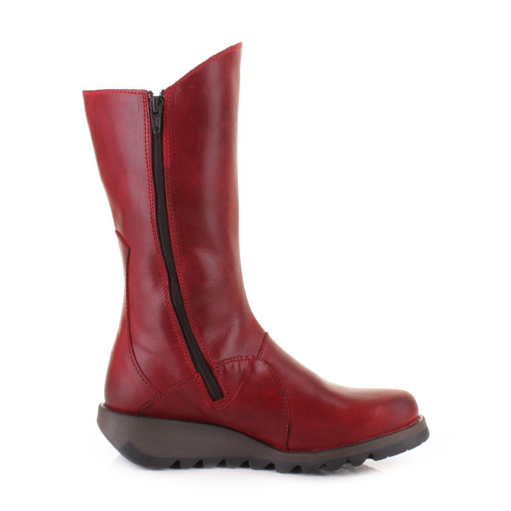 WOMENS FLY LONDON MES 2 RED LEATHER MID CALF LADIES FLAT ANKLE ...