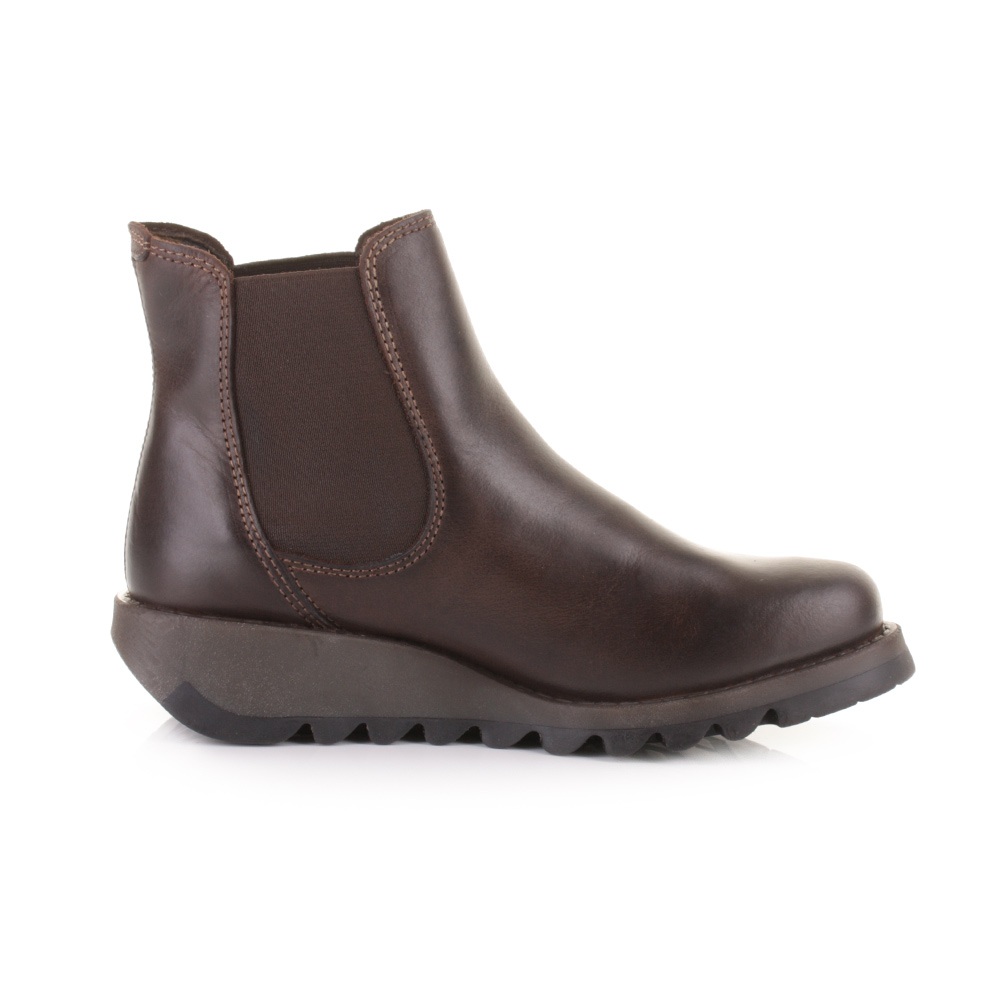 womens fly salv brown leather chelsea pull on