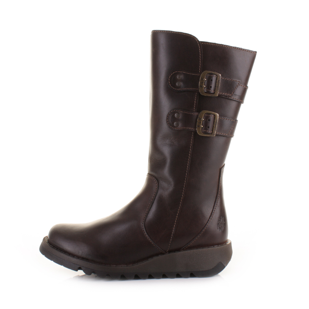 womens fly suli brown buckle mid calf