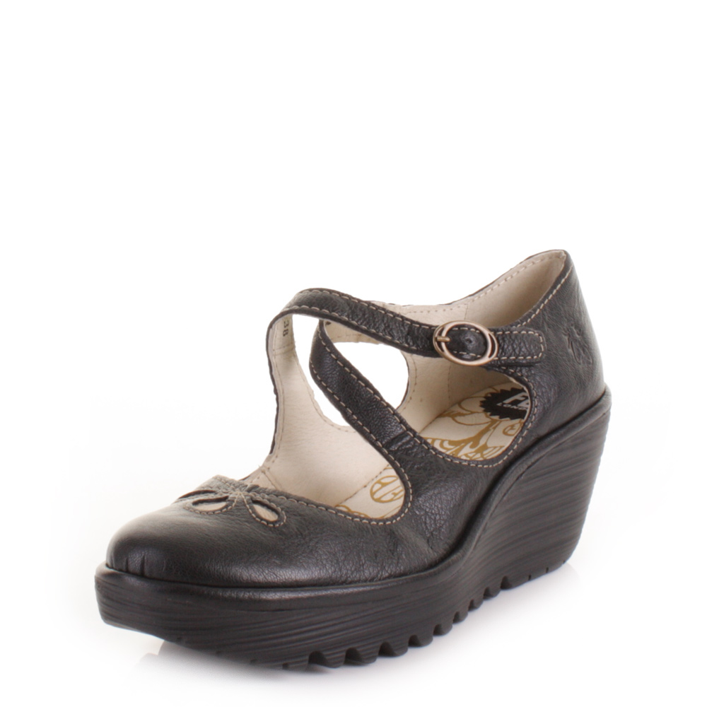 womens fly yate black leather cross wedge heel shoes size 3 8 ebay
