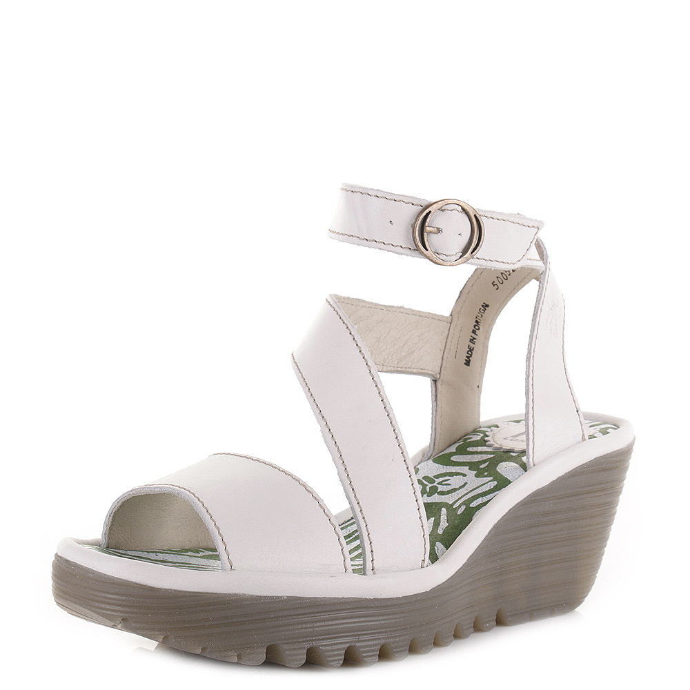 womens fly yesk rug white leather wedge heel