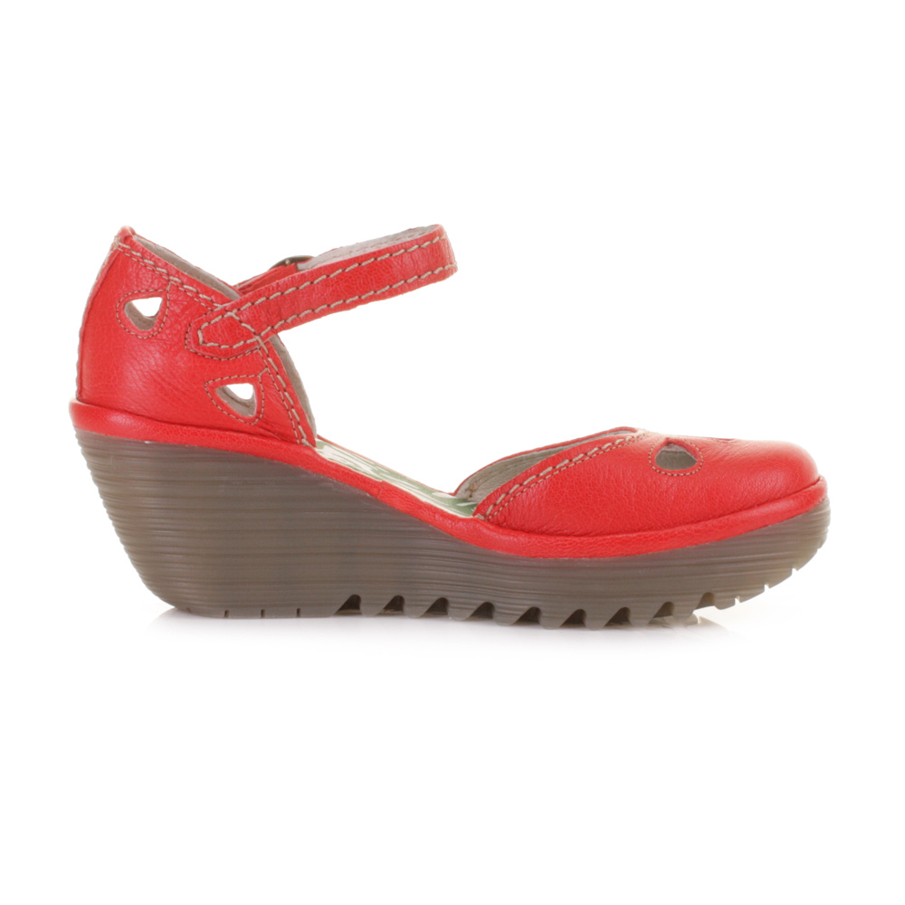 Women Fly London Yuna Devil Red Leather Wedge Heel Sandals