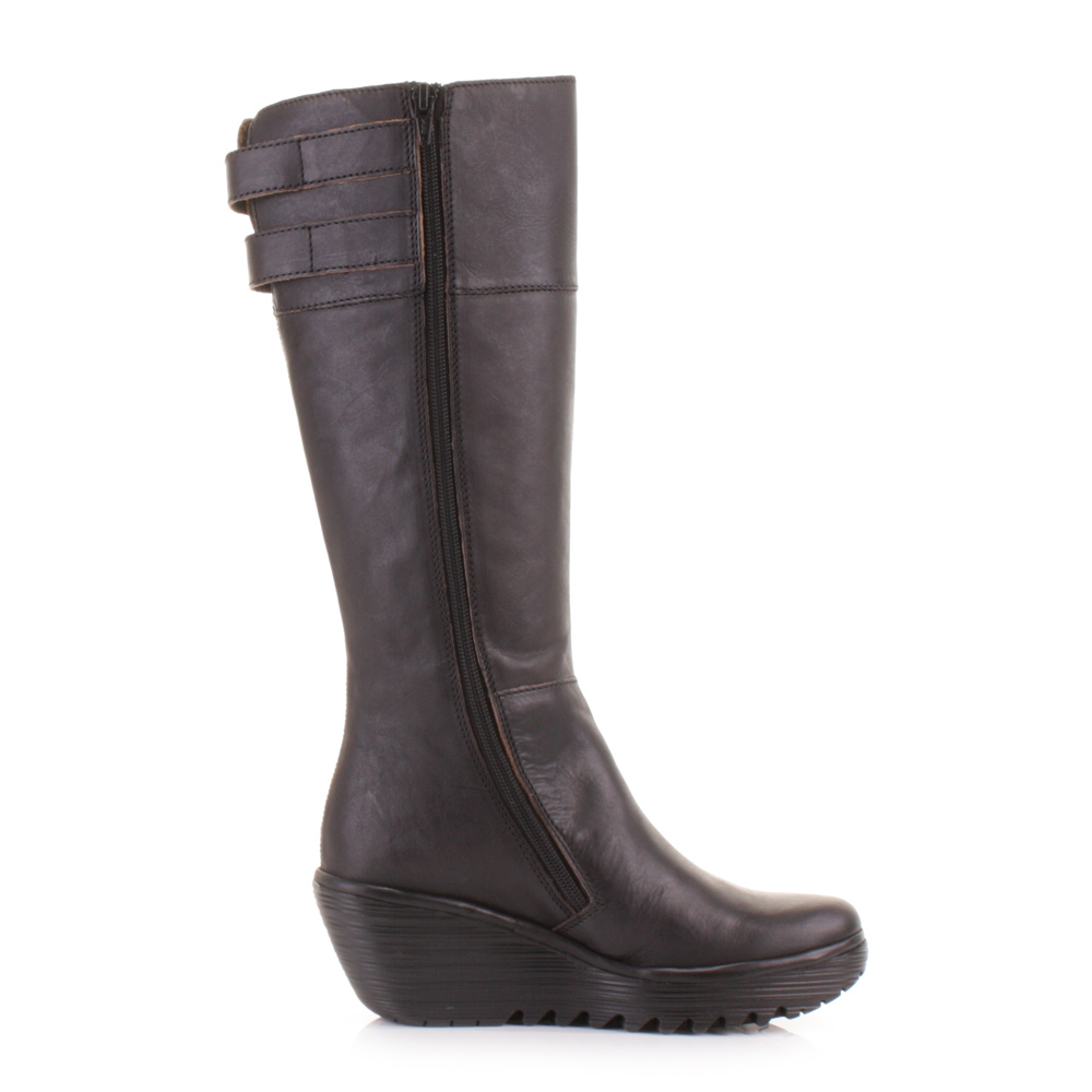 womens fly yush black leather back lace knee high