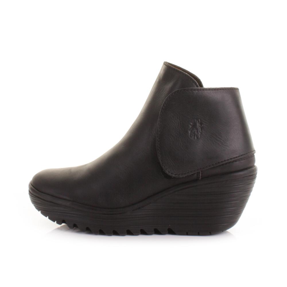 fly yogi leather black wedge boots size 3 8