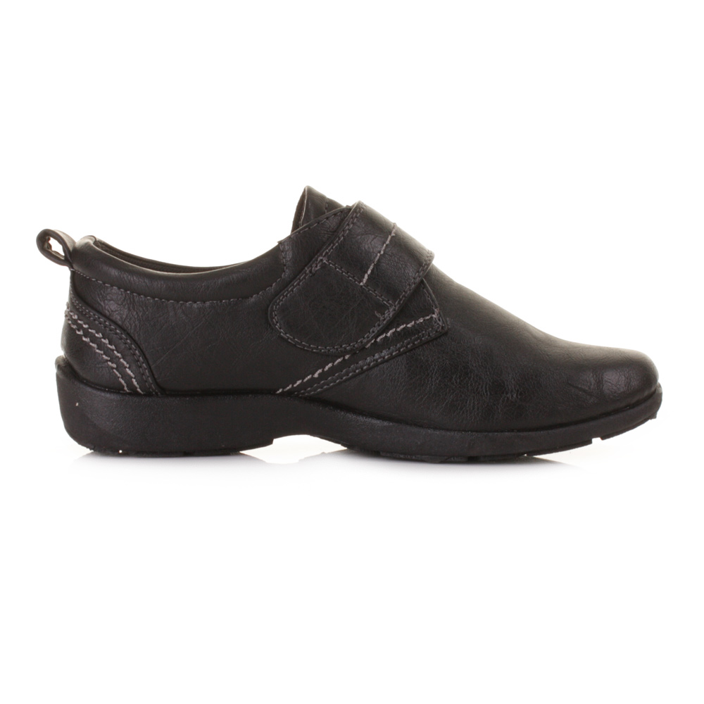 WOMENS FLAT LEATHER STYLE COMFORTABLE COMFY BLACK WORK ...