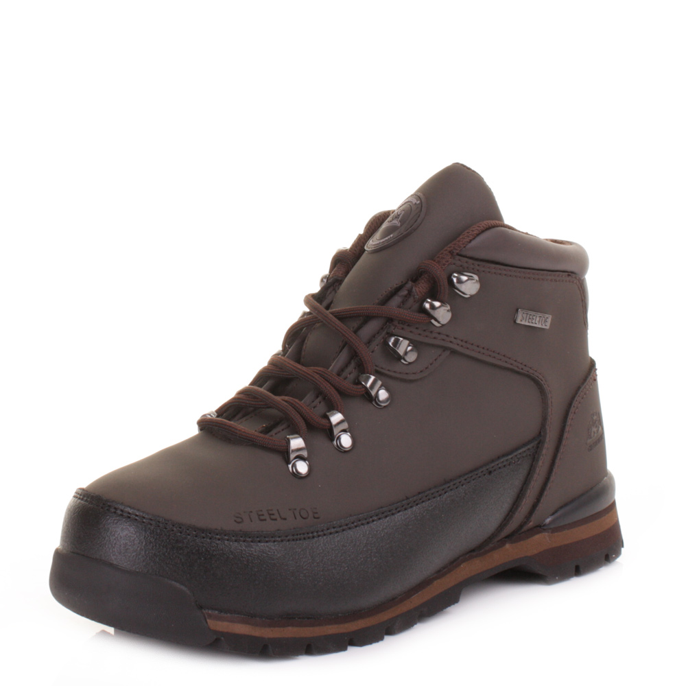 mens leather steel toe cap safety hiking ankle boots work
