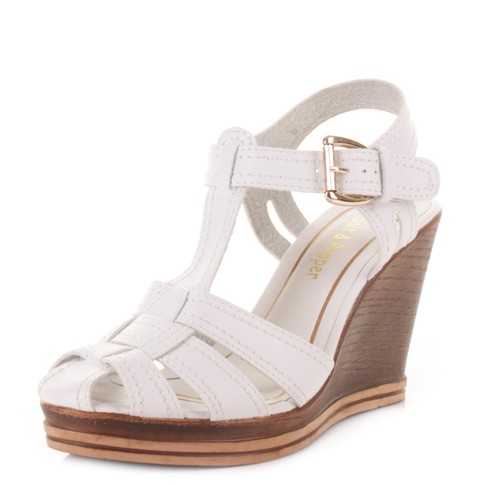 womens leather look t bar strappy wedge platform sandals