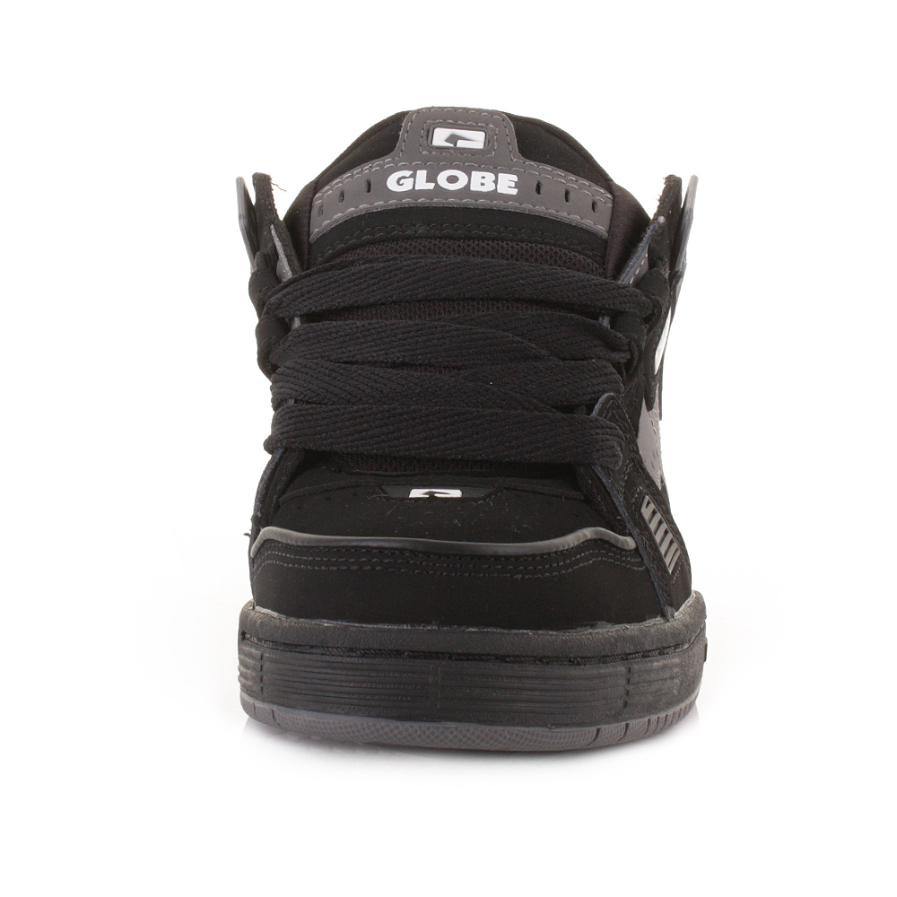 MENS GLOBE SABRE BLACK GREY CHARCOAL LACE UP WIDE SKATE
