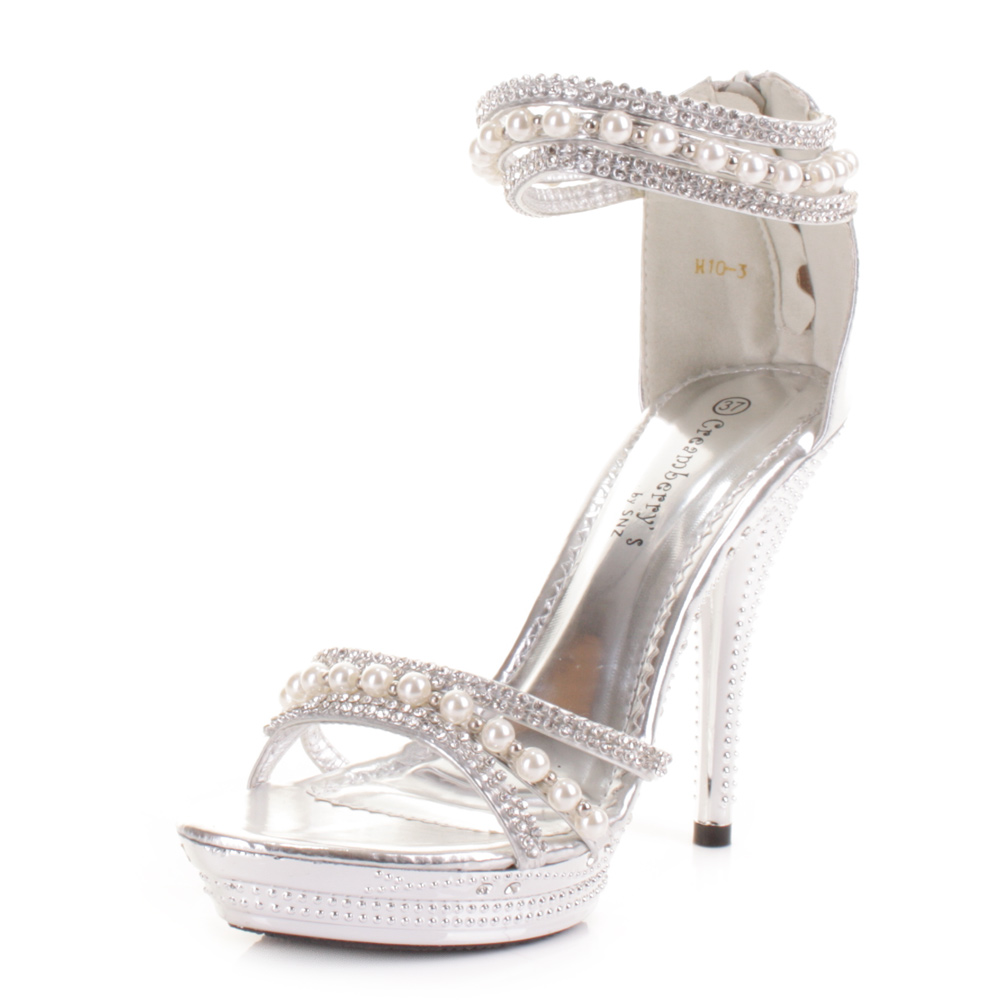LADIES HIGH HEEL SILVER DIAMANTE PEARL ANKLE STRAP WEDDING PROM ...