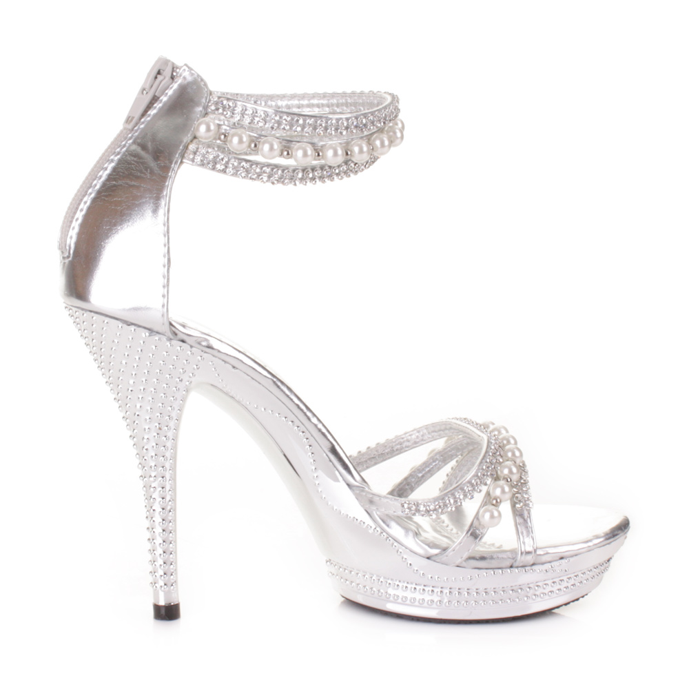 womens high heel silver diamante pearl ankle strap wedding prom shoes size 3 8 ebay. Black Bedroom Furniture Sets. Home Design Ideas