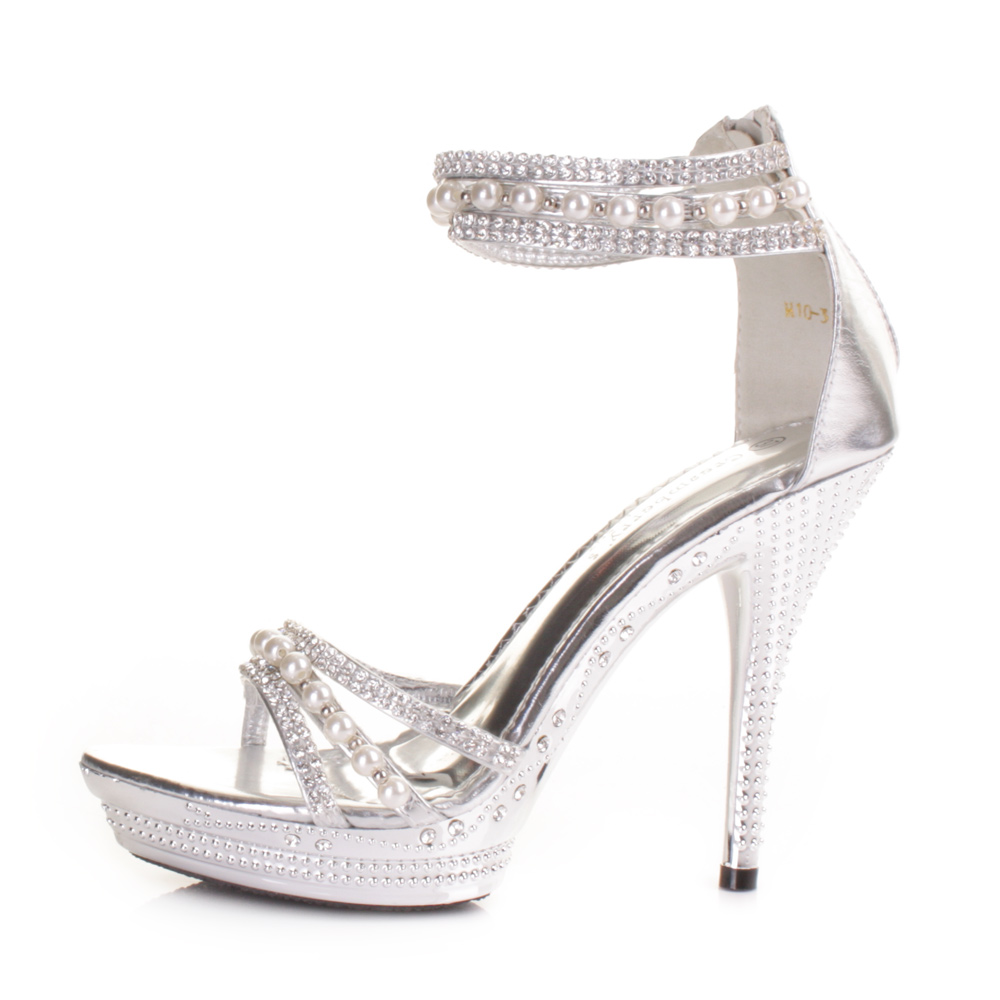 ladies high heel silver diamante pearl ankle strap wedding. Black Bedroom Furniture Sets. Home Design Ideas