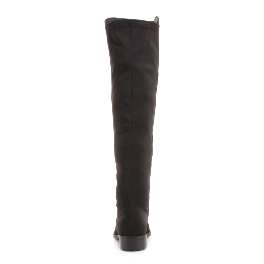 knee thigh high flat stretch black suede look