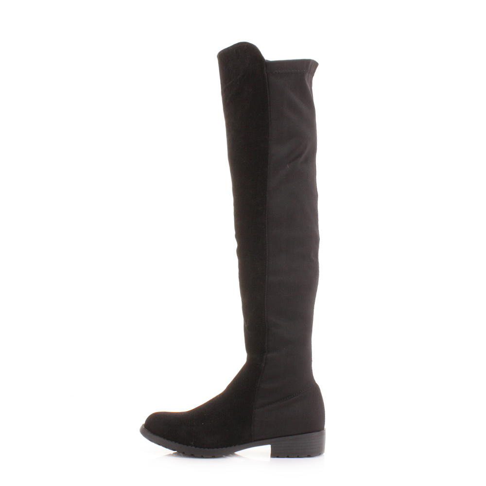 womens knee thigh high flat stretch black suede look