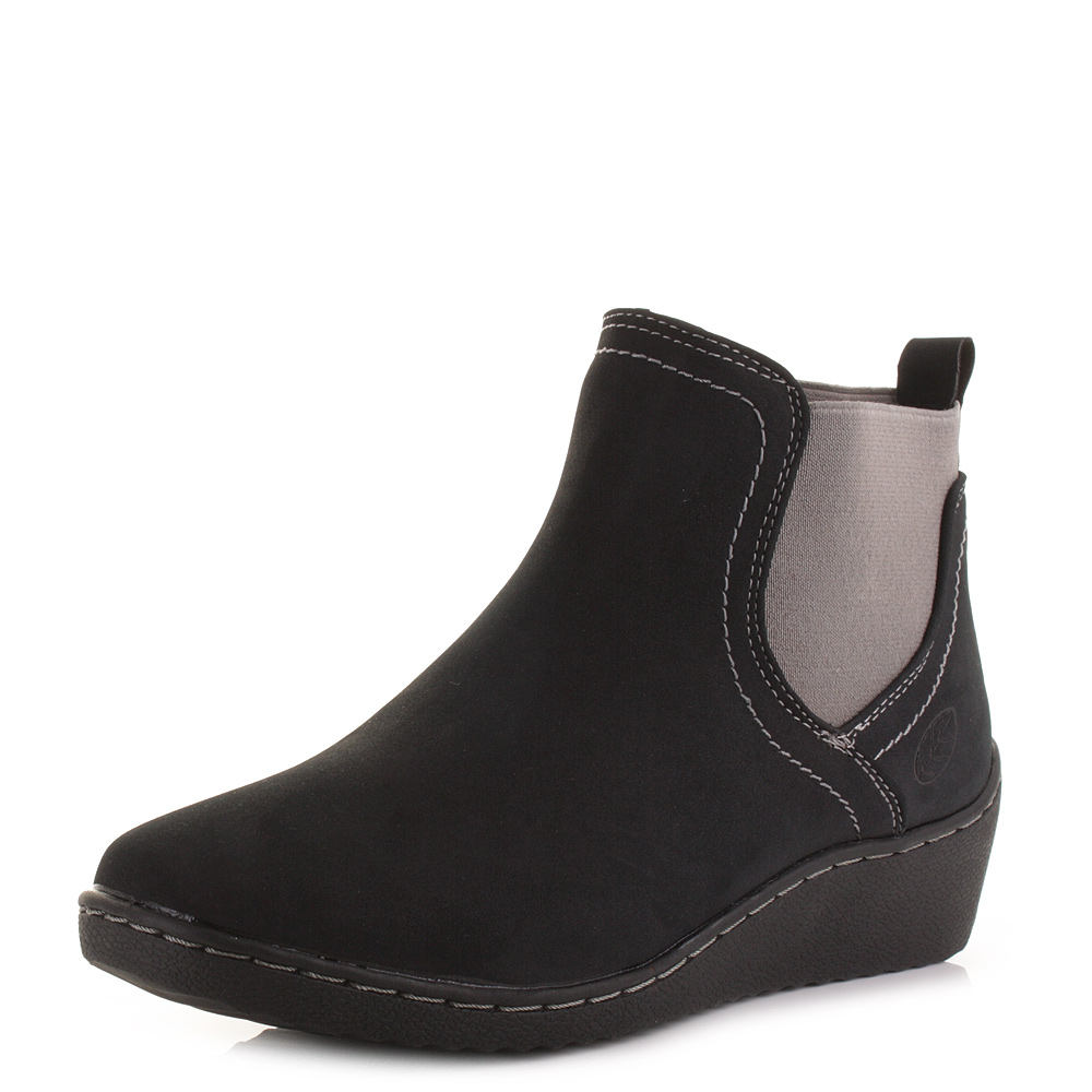 womens low wedge pull on chelsea comfort fit ankle boots