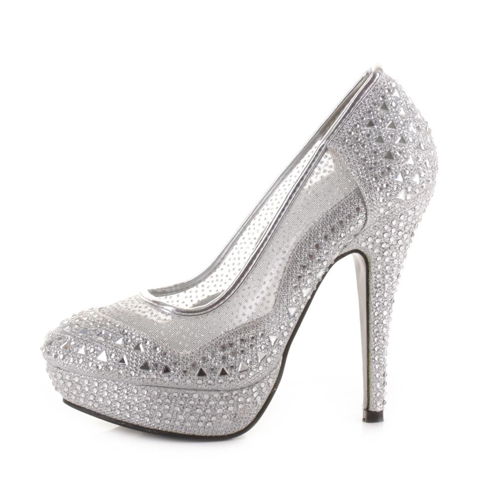 Image is loading New-Silk-crystal-Bead-pump-Bride-Wedding-Shoes