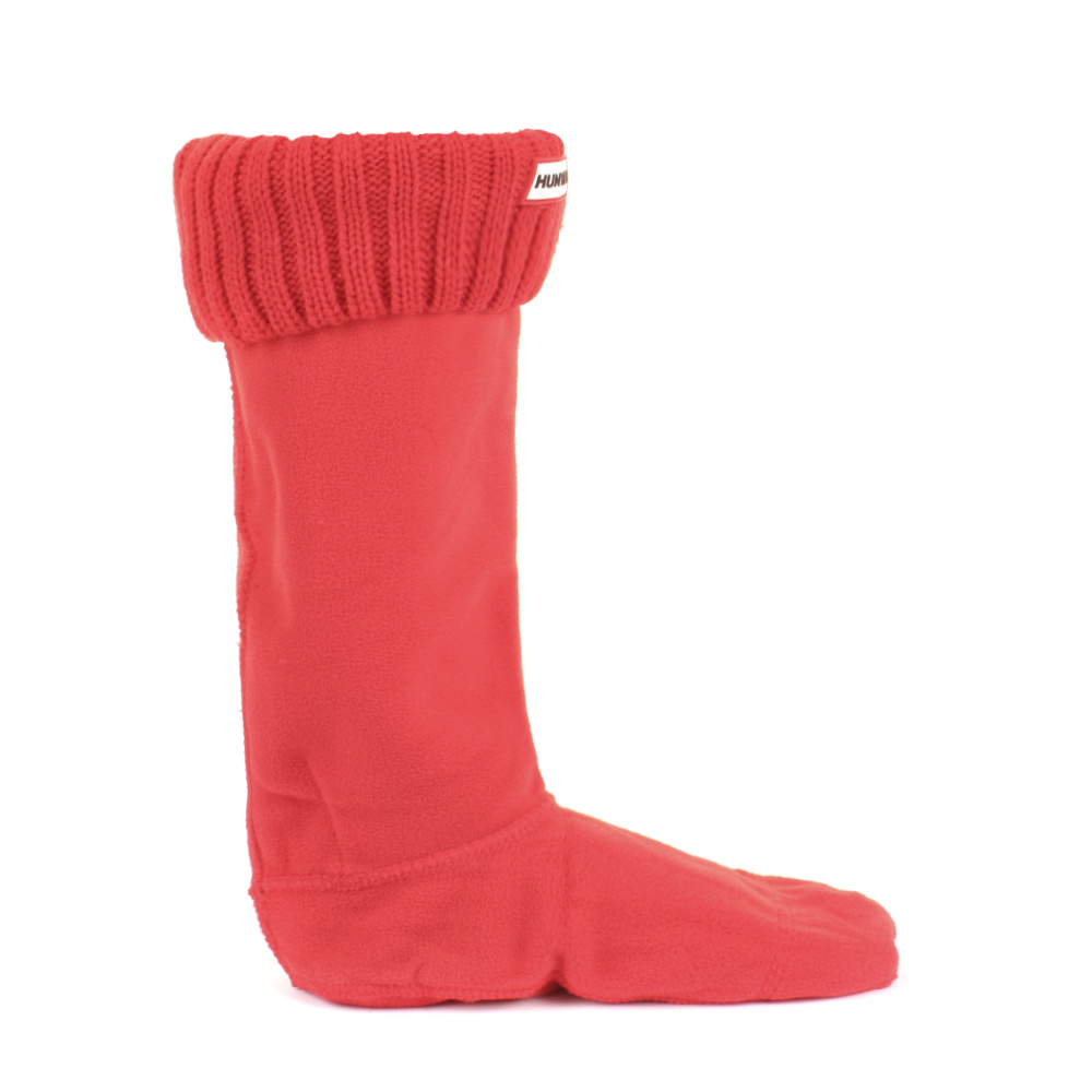Womens Hunter Bright Coral Chunky Rib Wellington Welly ...