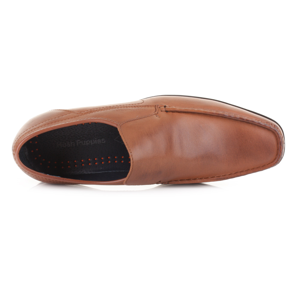 MENS HUSH PUPPIES MODERNA SLIP ON TAN LEATHER LOAFERS WORK