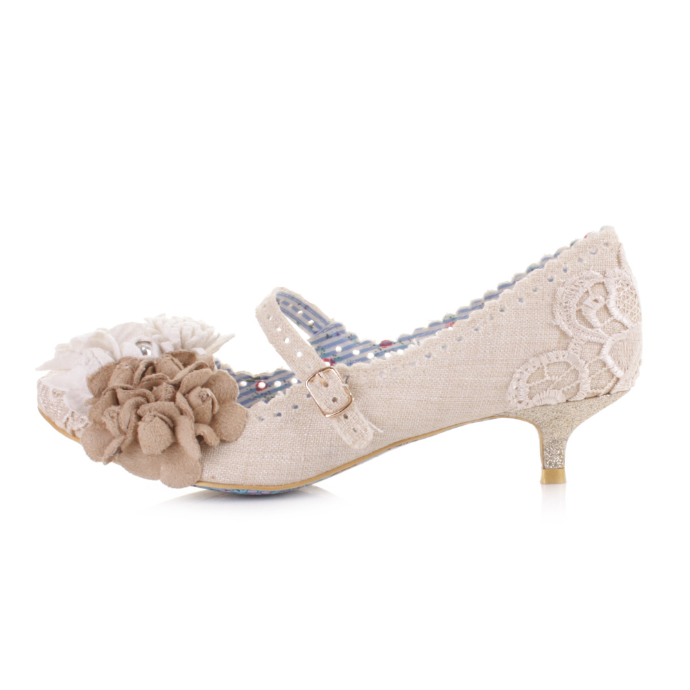 Irregular Choice Daisy Dayz Off White Low Kitten Heel Court Shoes