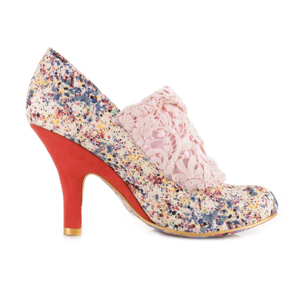 womens irregular choice flack coral high heel