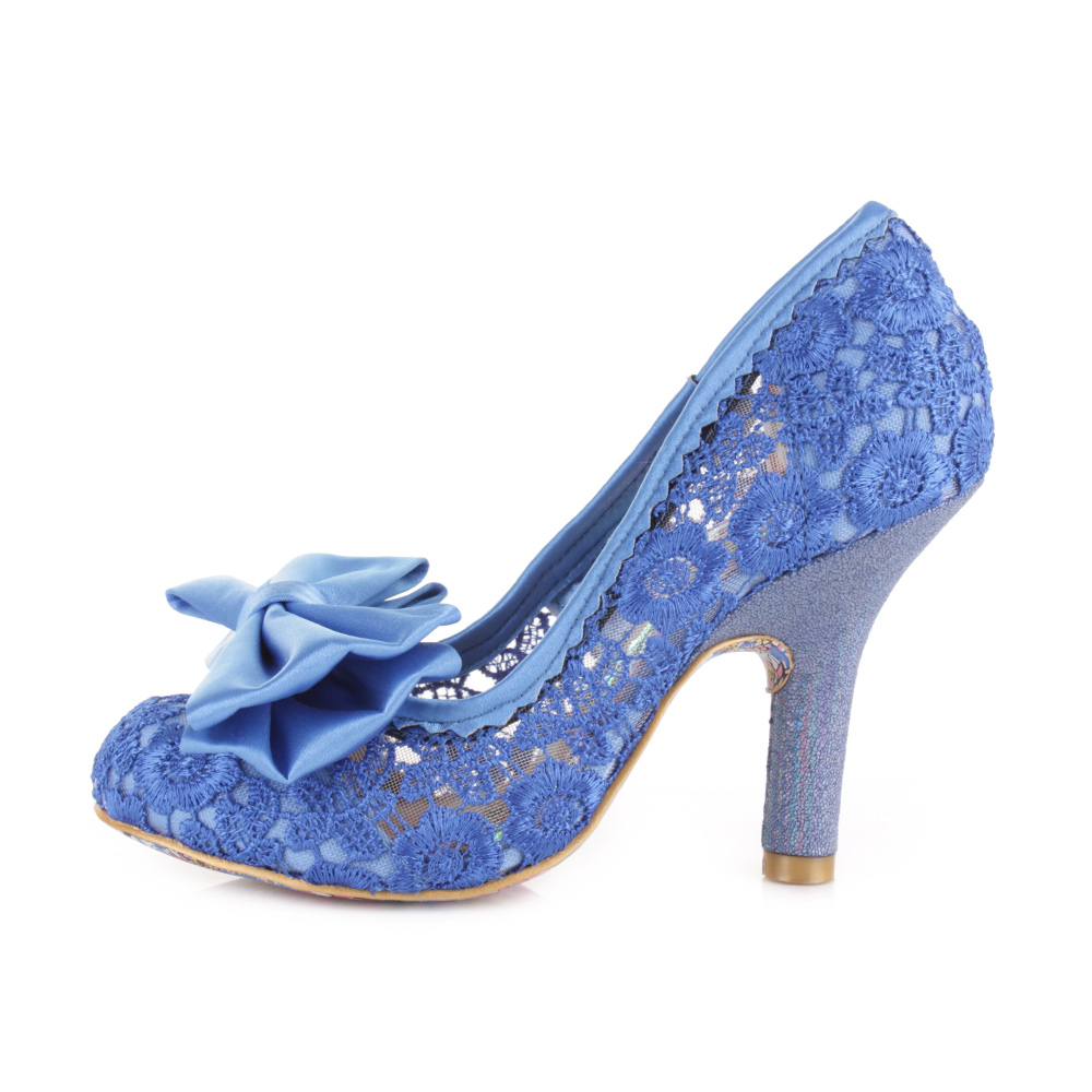 womens irregular choice mal e blue lace high heel