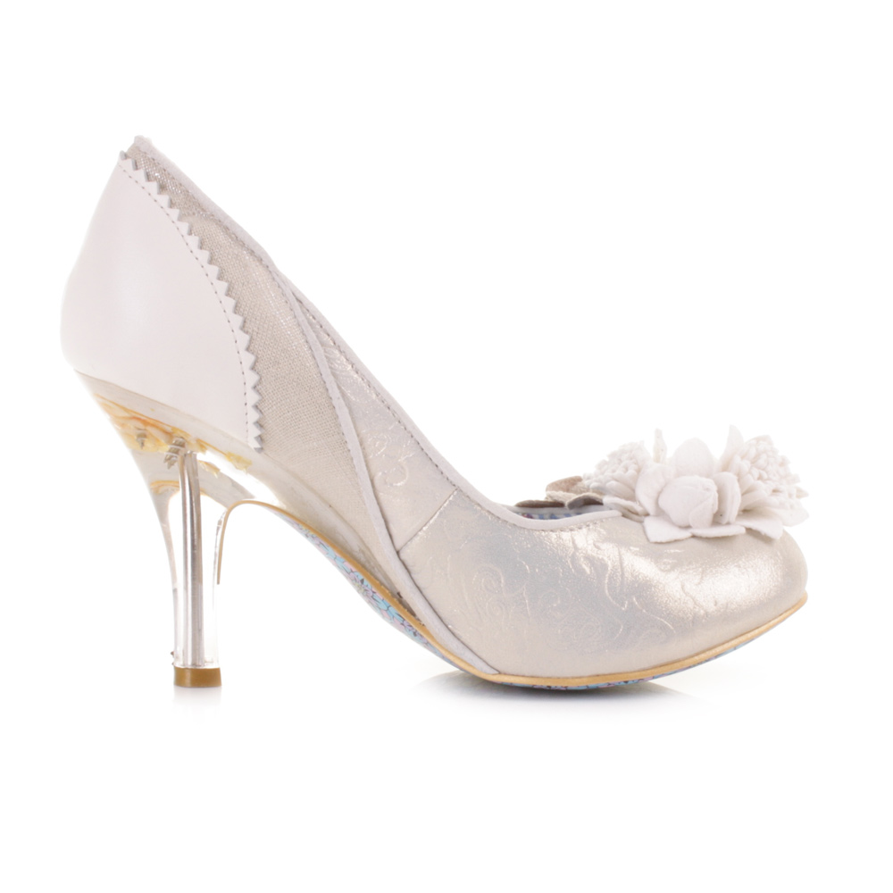 Cream Court Shoes Leather Womens
