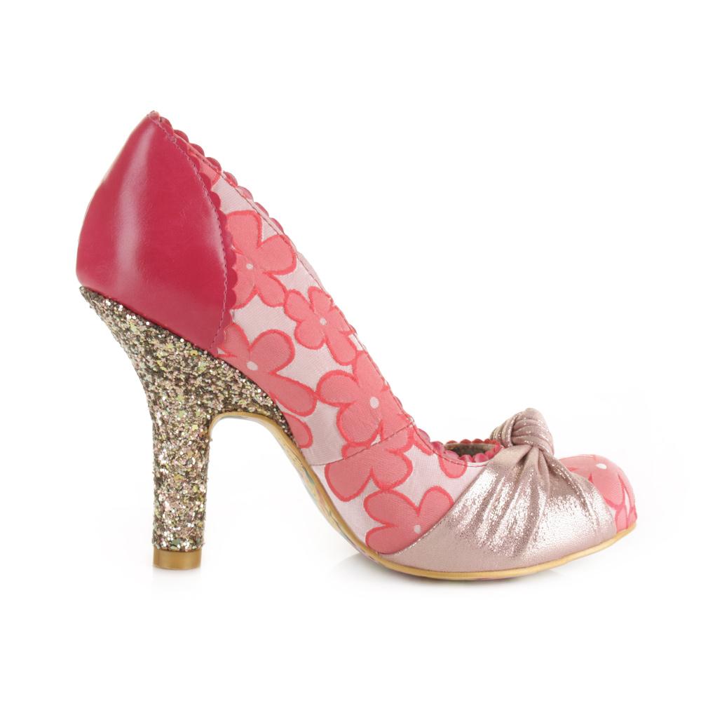 womens irregular choice smarty pink glitter high