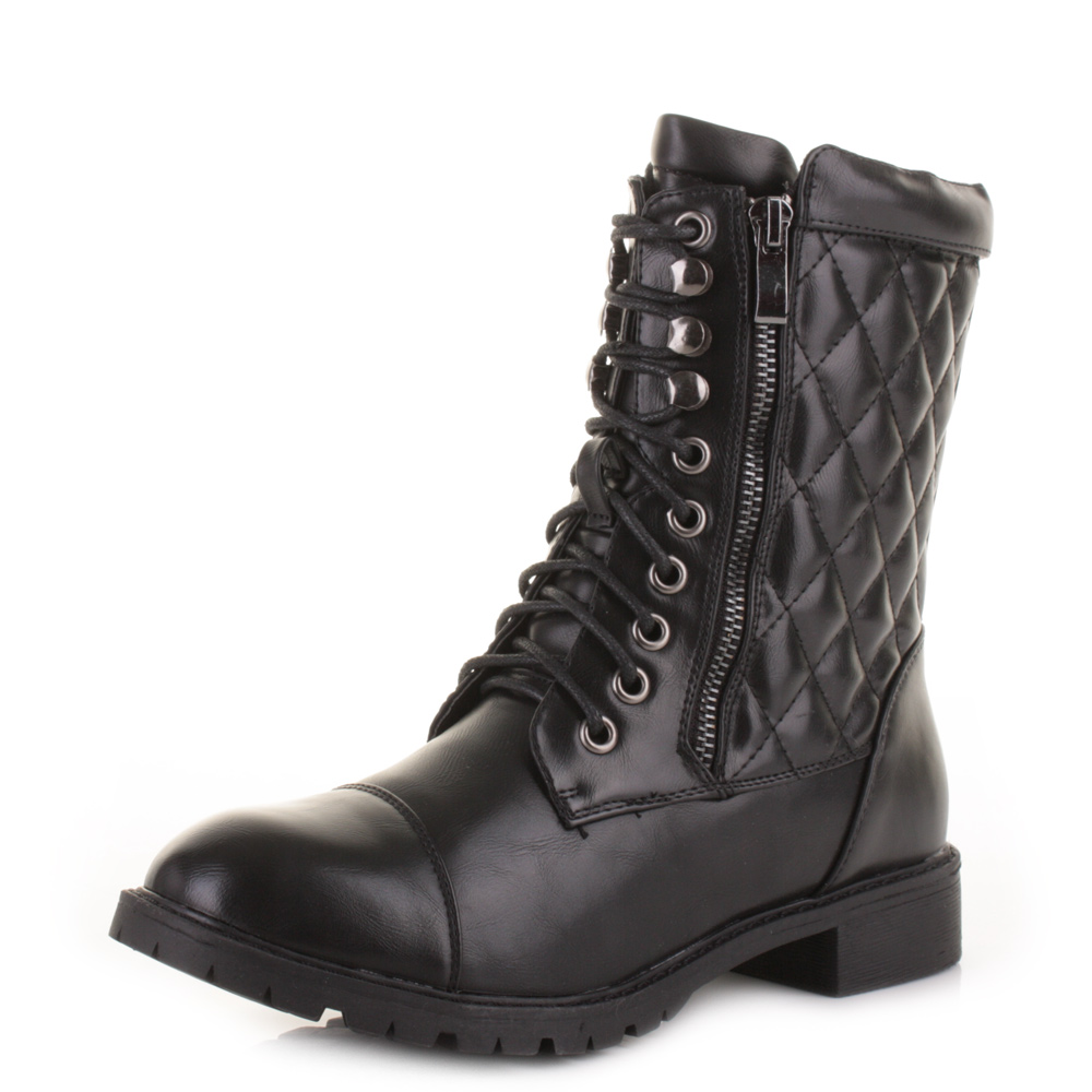 womens black leather style quilted casual lace up
