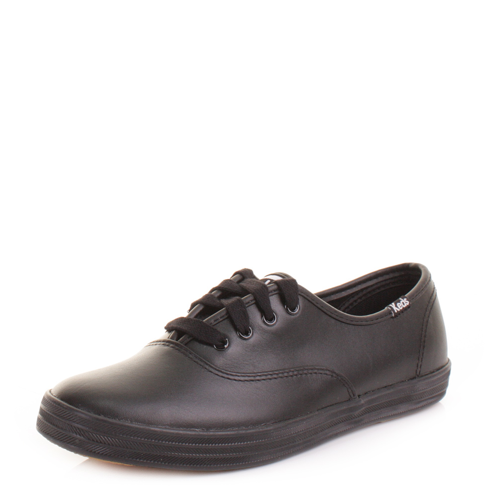 womens keds chion black leather lace up shoes trainers