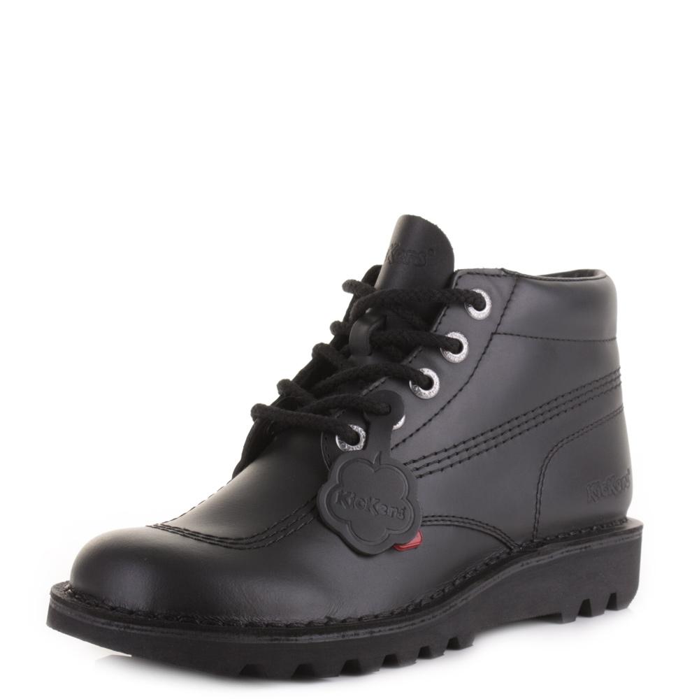 mens kickers kick hi black leather smart casual work