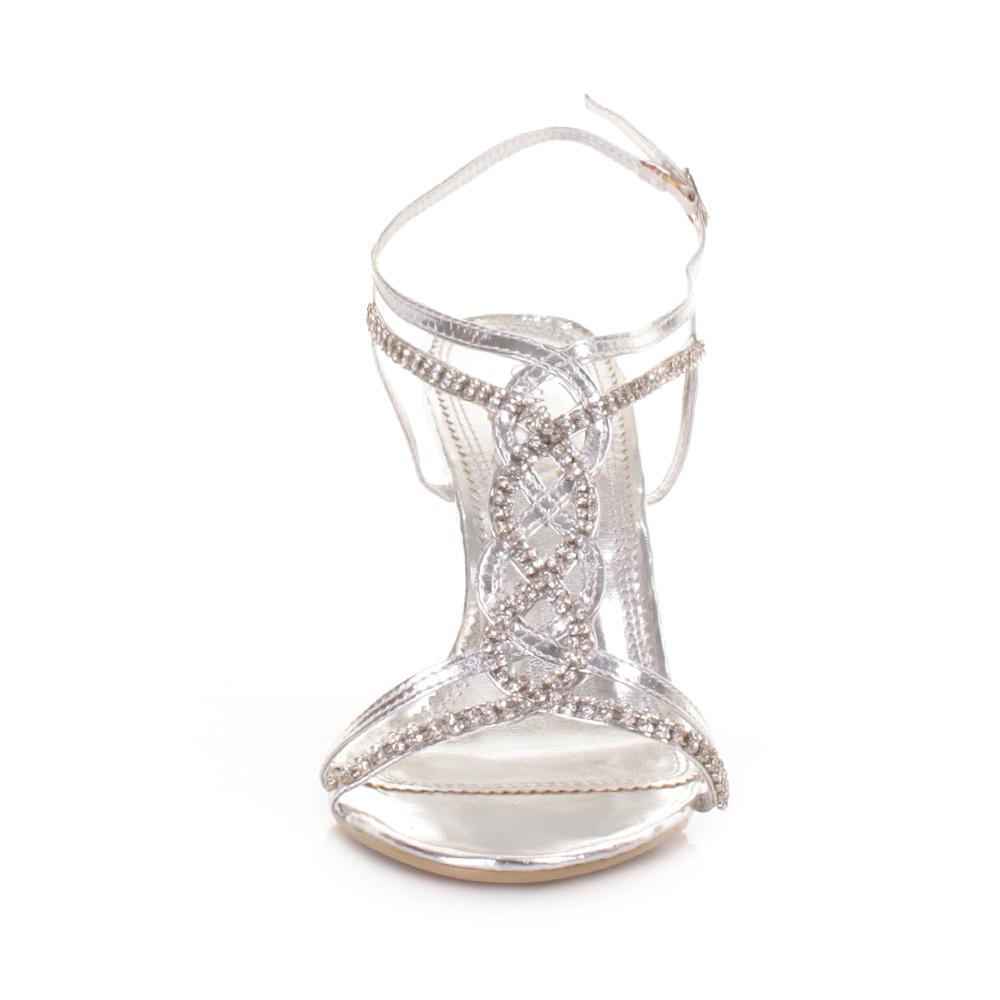 Damen Silber Riemen Absatz Party Hochzeit Ball Schuhe