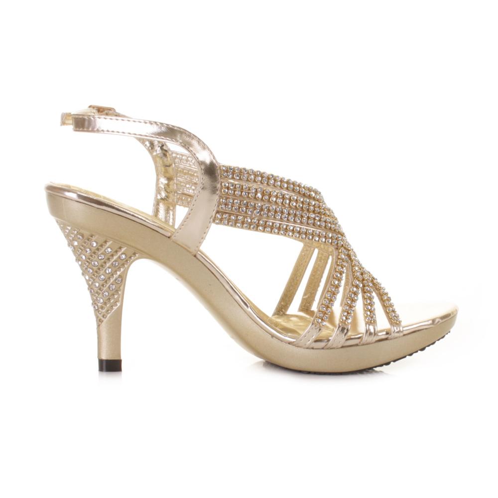 womens prom gold diamante strappy mid heel
